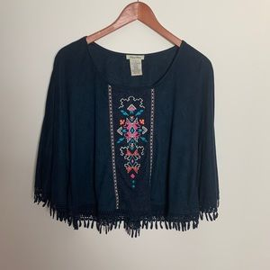 Flying Tomato Suede Fringe Embroidered Poncho Top